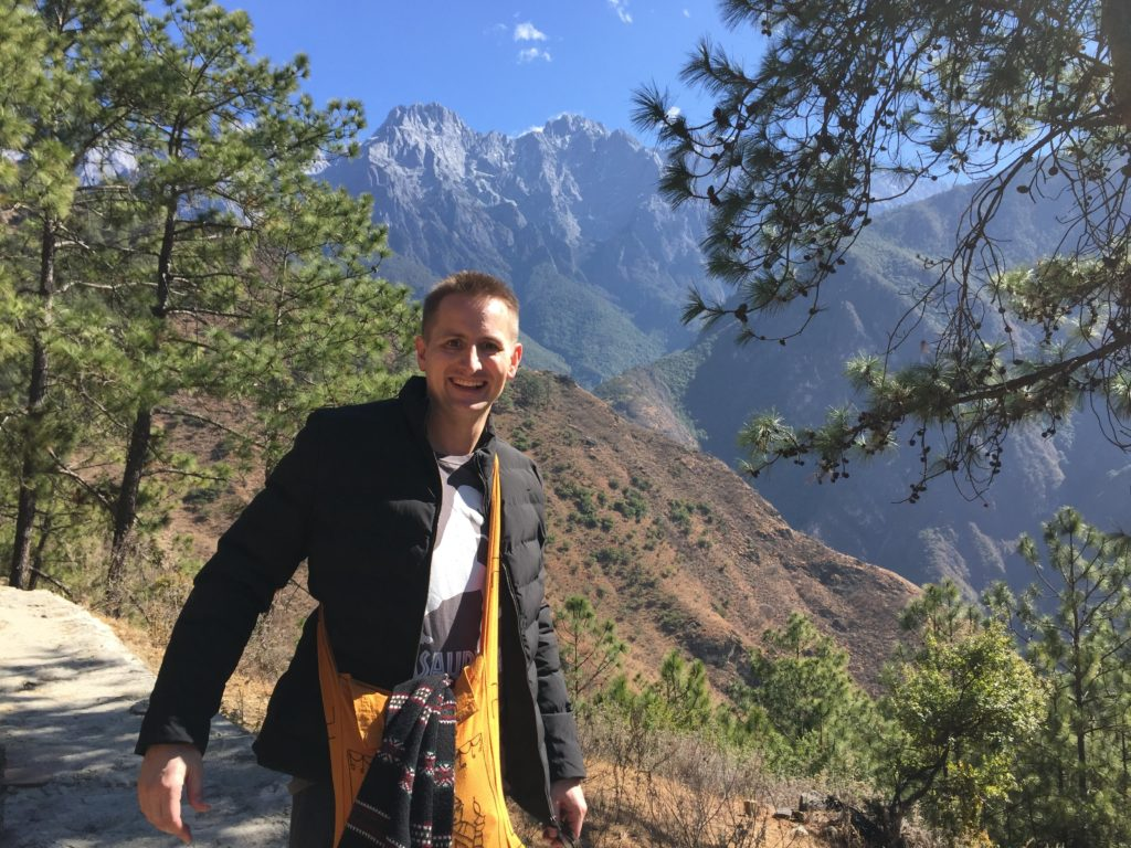 Peter Kowalke hiking Leaping Tiger Gorge